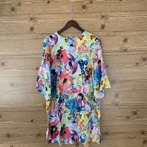 H&M FLORAL TUNIC DRESS WATERCOLOUR FLOWERS VISCOSE